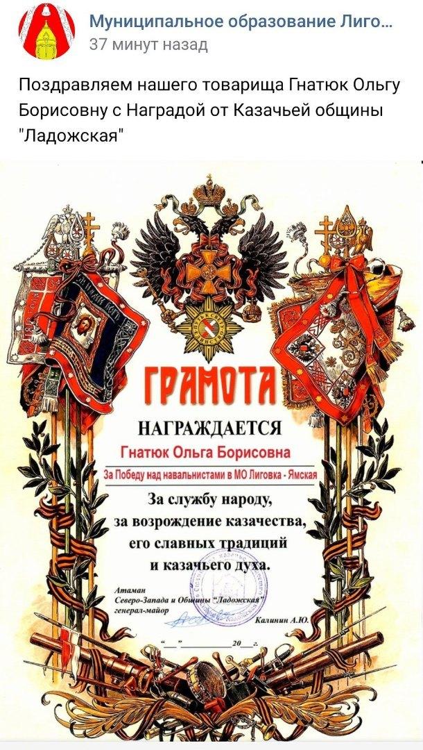 В Петербурге казаки наградили депутата «Единой России» за «победу над