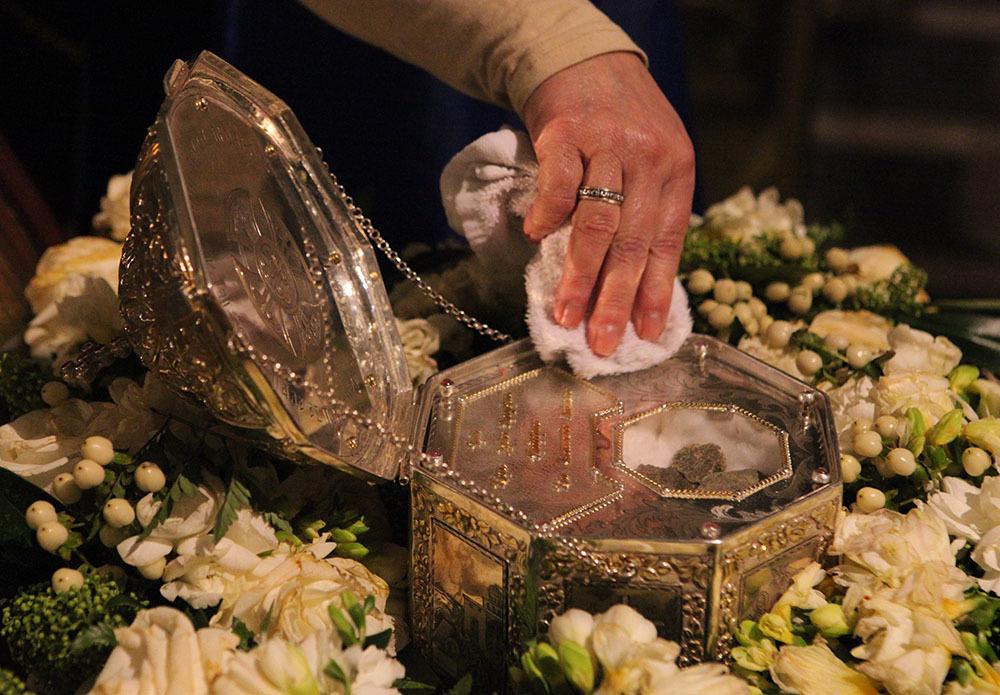 Ковчежец с мощами Иоанна Крестителя в Казанском соборе. Фото: Елена Лукьянова / «Новая в Петербурге»